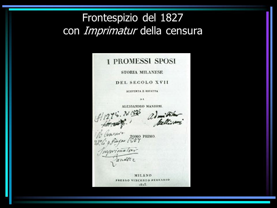 Frontespizio del 1827 con Imprimatur della censura