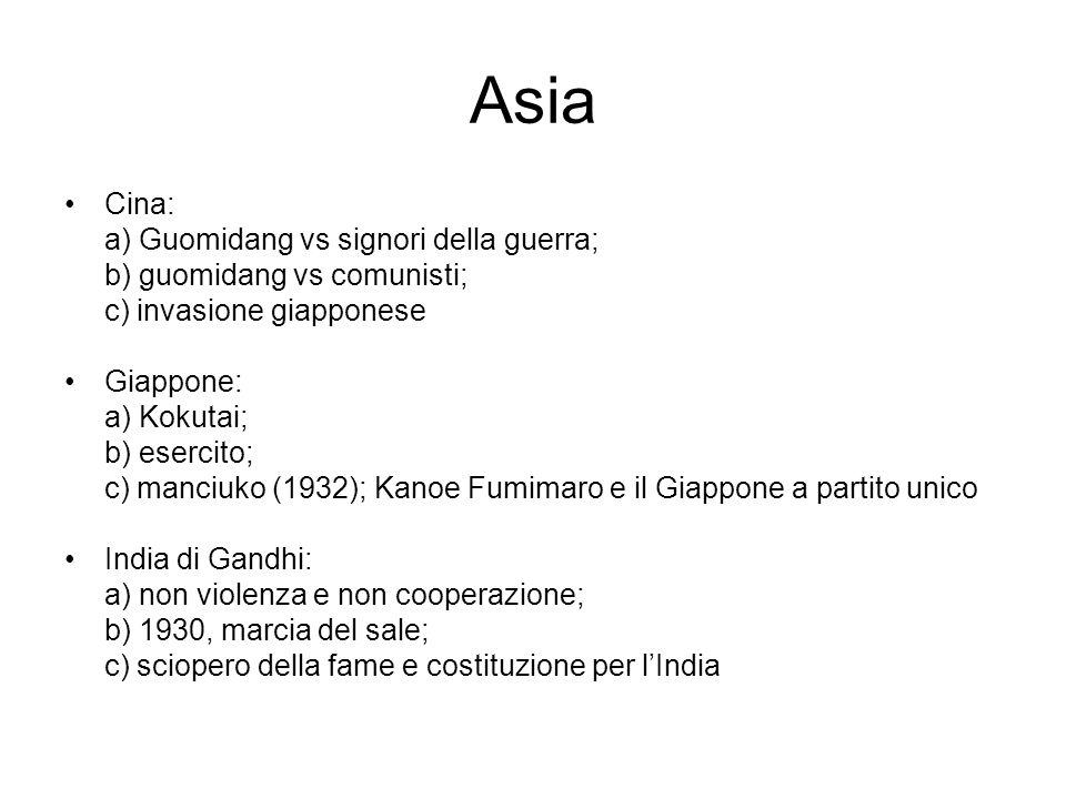 Asia Cina: a) Guomidang vs signori della guerra;