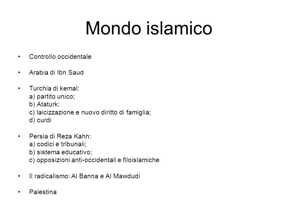 Mondo islamico Controllo occidentale Arabia di Ibn Saud