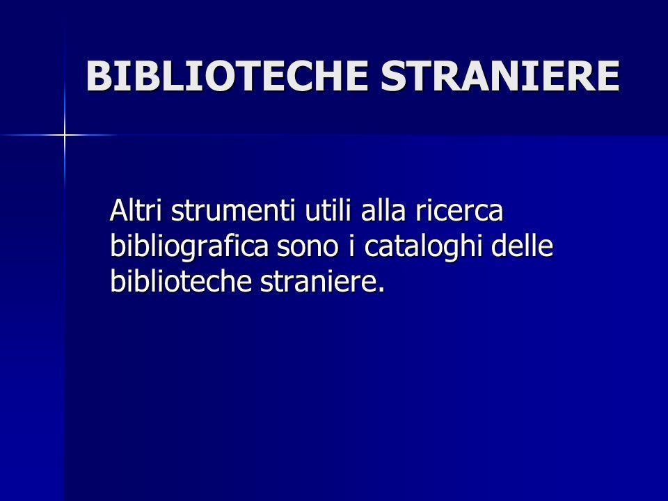 BIBLIOTECHE STRANIERE