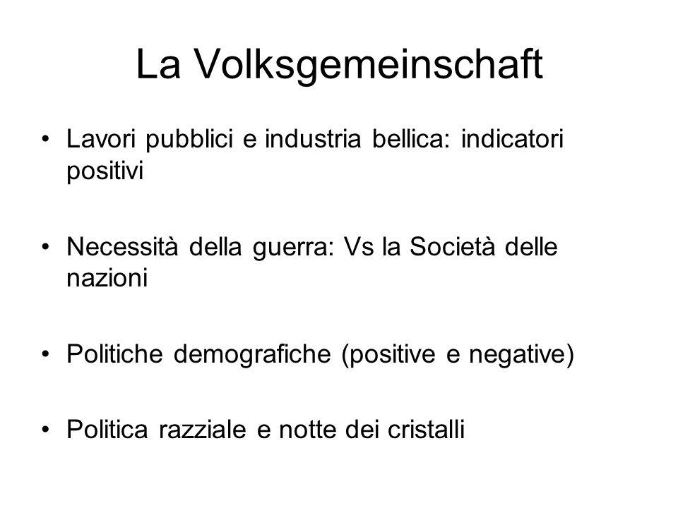 La VolksgemeinschaftLavori pubblici e industria bellica: indicatori positivi. Necessità della guerra: Vs la Società delle nazioni.
