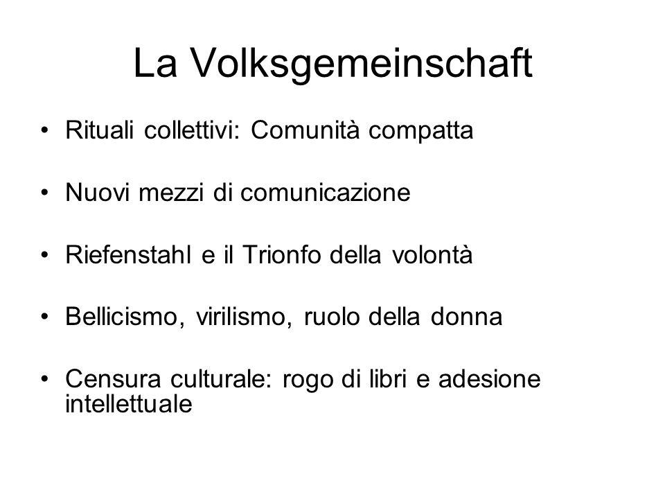 La Volksgemeinschaft Rituali collettivi: Comunità compatta