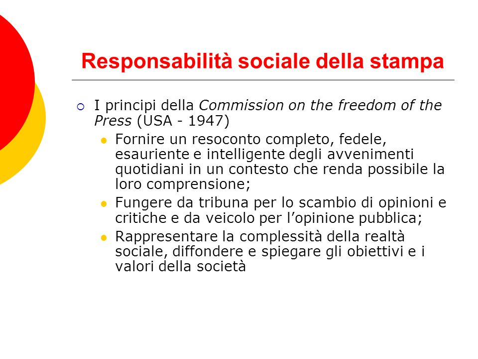 Responsabilità sociale della stampa