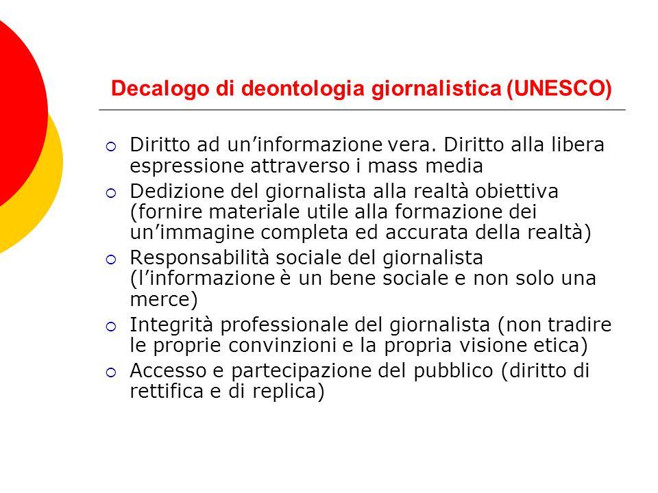 Decalogo di deontologia giornalistica (UNESCO)