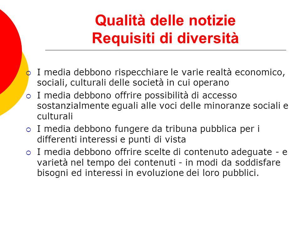 Qualità delle notizie Requisiti di diversità