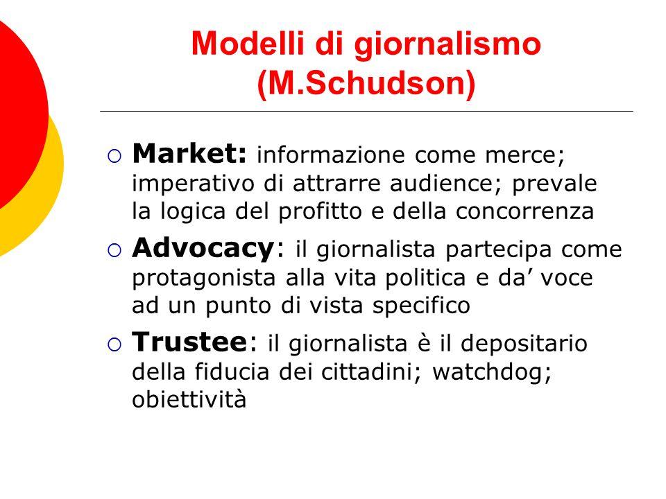 Modelli di giornalismo (M.Schudson)