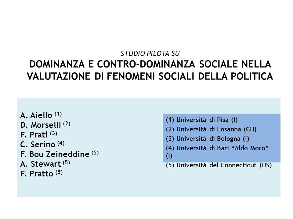 STUDIO PILOTA SUDOMINANZA E CONTRO-DOMINANZA SOCIALE NELLA VALUTAZIONE DI FENOMENI SOCIALI DELLA POLITICA.