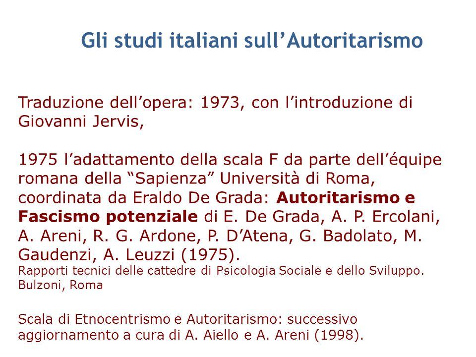 Gli studi italiani sull'Autoritarismo