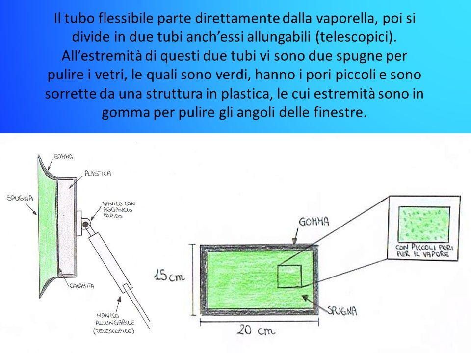 Il tubo flessibile parte direttamente dalla vaporella, poi si divide in due tubi anch'essi allungabili (telescopici). All'estremità di questi due tubi vi sono due spugne per pulire i vetri, le quali sono verdi, hanno i pori piccoli e sono sorrette da una struttura in plastica, le cui estremità sono in gomma per pulire gli angoli delle finestre.