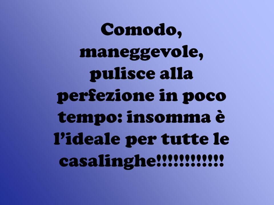 Comodo, maneggevole, pulisce alla perfezione in poco tempo: insomma è l'ideale per tutte le casalinghe!!!!!!!!!!!!