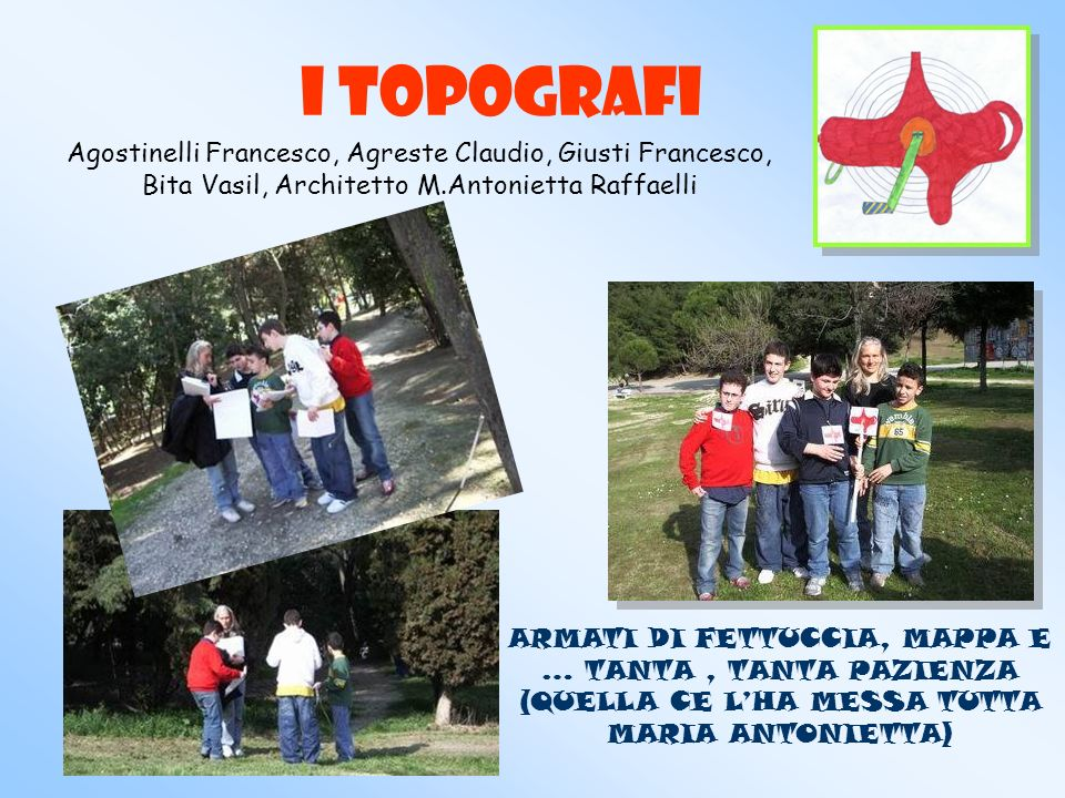 I TOPOGRAFI Agostinelli Francesco, Agreste Claudio, Giusti Francesco, Bita Vasil, Architetto M.Antonietta Raffaelli.