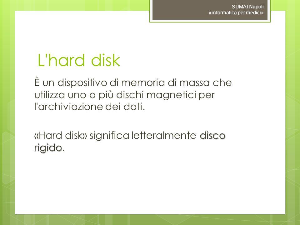 09/11/10 SUMAI Napoli «informatica per medici» L hard disk.