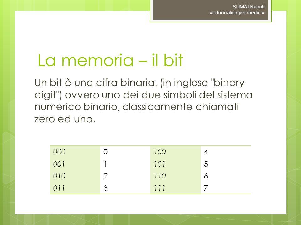 09/11/10 SUMAI Napoli «informatica per medici» La memoria – il bit.