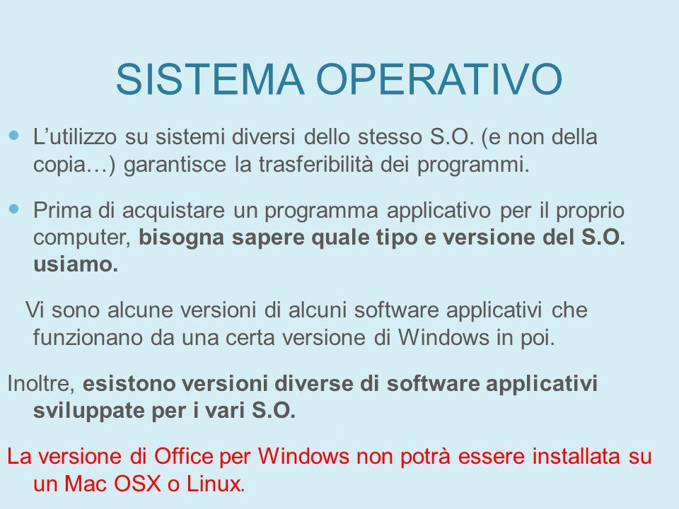 27/01/11 SISTEMA OPERATIVO. L'utilizzo su sistemi diversi dello stesso S.O. (e non della copia…) garantisce la trasferibilità dei programmi.