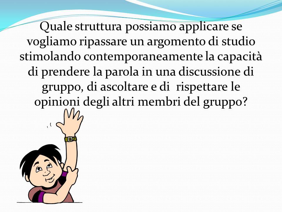 Quale struttura possiamo applicare se vogliamo ripassare un argomento di studio stimolando contemporaneamente la capacità di prendere la parola in una discussione di gruppo, di ascoltare e di rispettare le opinioni degli altri membri del gruppo