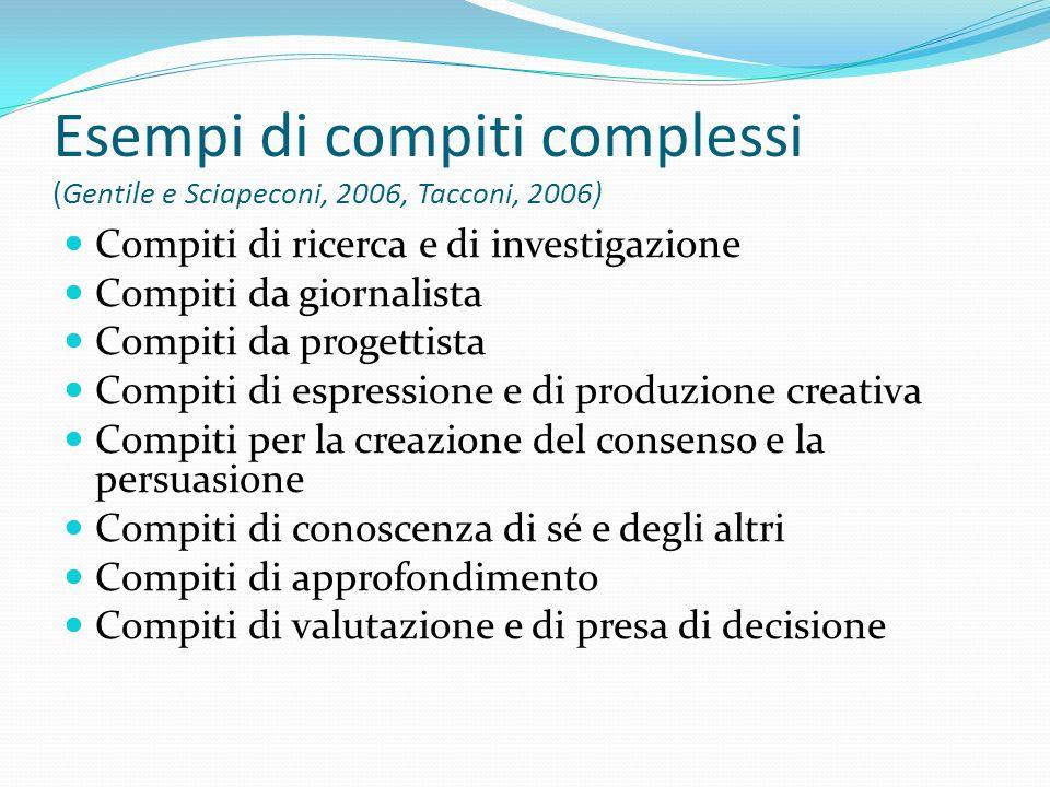 Esempi di compiti complessi (Gentile e Sciapeconi, 2006, Tacconi, 2006)