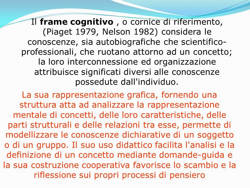 Il frame cognitivo , o cornice di riferimento, (Piaget 1979, Nelson 1982) considera le conoscenze, sia autobiografiche che scientifico-professionali, che ruotano attorno ad un concetto; la loro interconnessione ed organizzazione attribuisce significati diversi alle conoscenze possedute dall individuo.