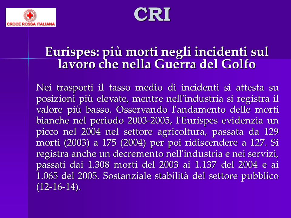 CRI Eurispes: più morti negli incidenti sul lavoro che nella Guerra del Golfo.