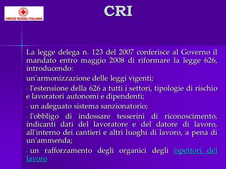 CRI La legge delega n. 123 del 2007 conferisce al Governo il mandato entro maggio 2008 di riformare la legge 626, introducendo: