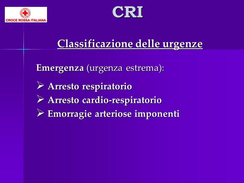 CRI Classificazione delle urgenze Emergenza (urgenza estrema):