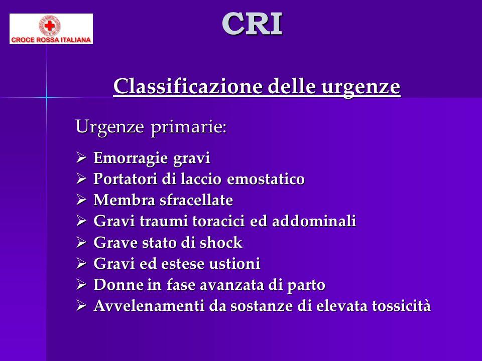 CRI Classificazione delle urgenze Urgenze primarie: Emorragie gravi