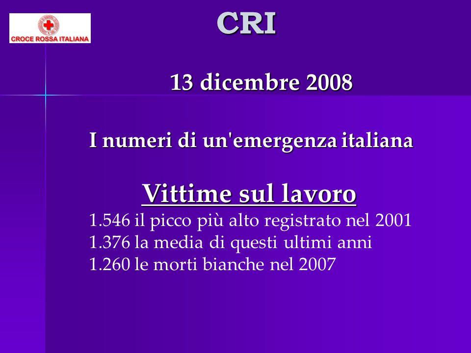 CRI 13 dicembre 2008. I numeri di un emergenza italiana.