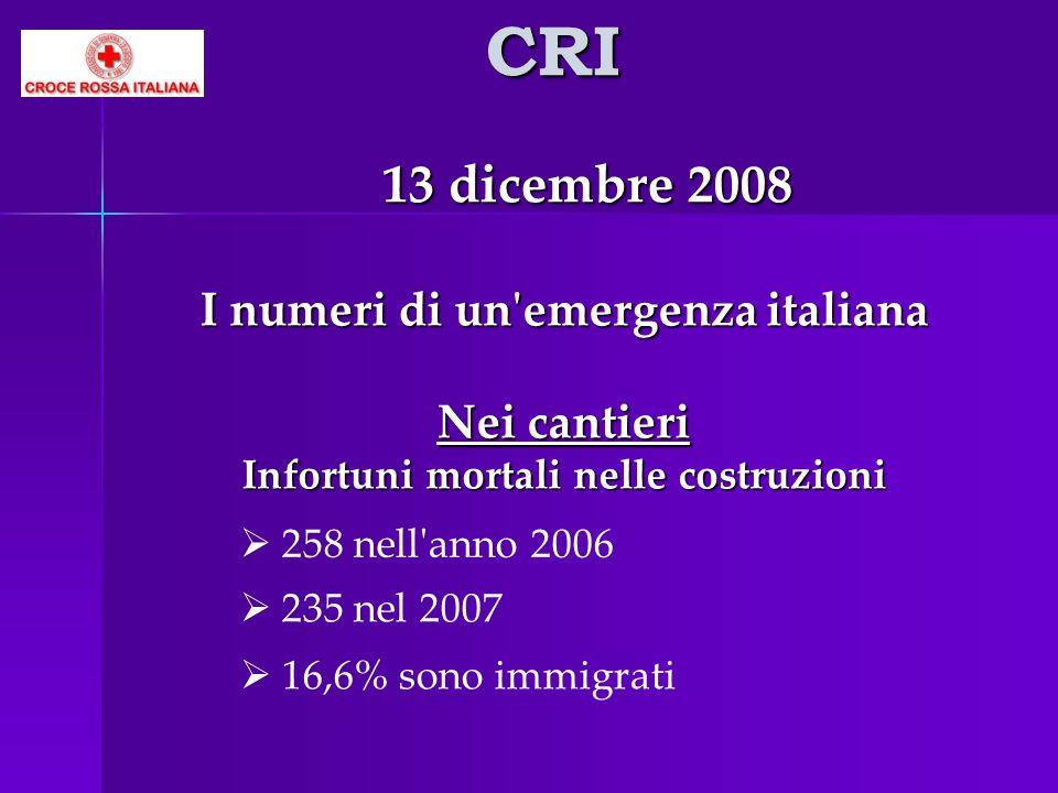 CRI 13 dicembre 2008 Nei cantieri I numeri di un emergenza italiana