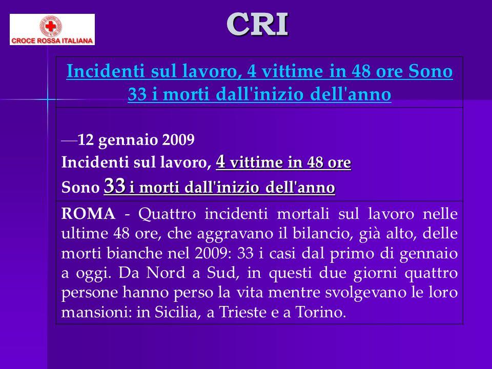 CRI Incidenti sul lavoro, 4 vittime in 48 ore Sono 33 i morti dall inizio dell anno. 12 gennaio 2009.