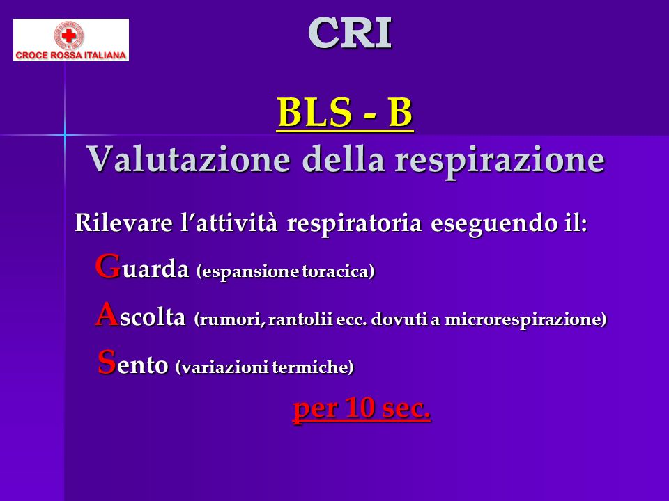 BLS - B Valutazione della respirazione