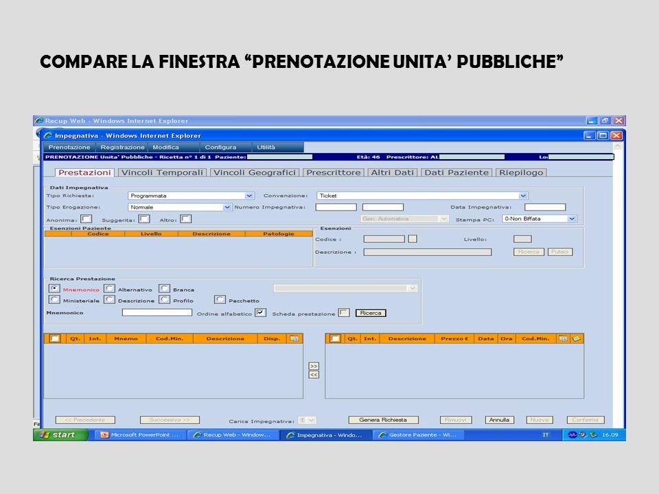 COMPARE LA FINESTRA PRENOTAZIONE UNITA' PUBBLICHE