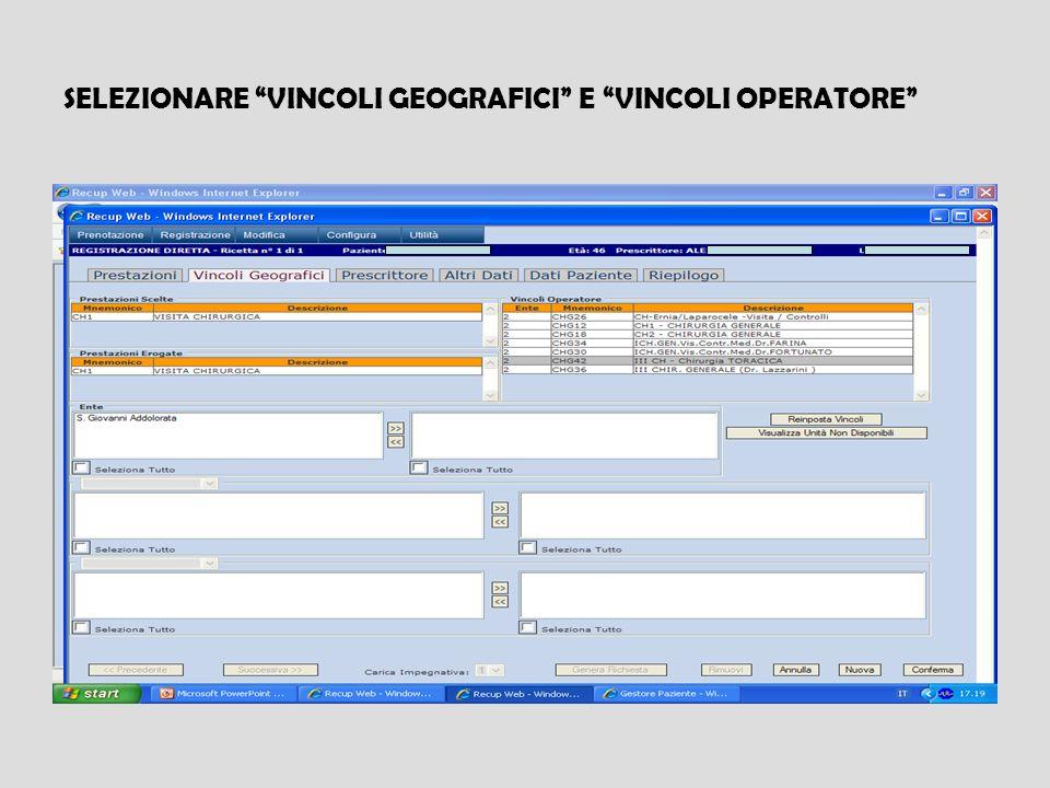SELEZIONARE VINCOLI GEOGRAFICI E VINCOLI OPERATORE