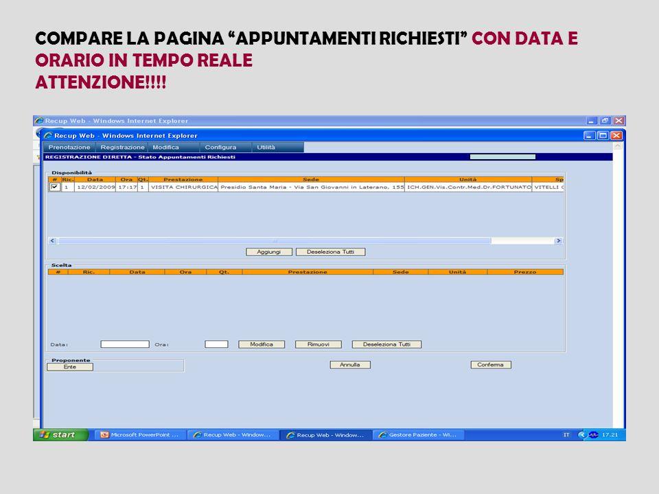 COMPARE LA PAGINA APPUNTAMENTI RICHIESTI CON DATA E ORARIO IN TEMPO REALE ATTENZIONE!!!!
