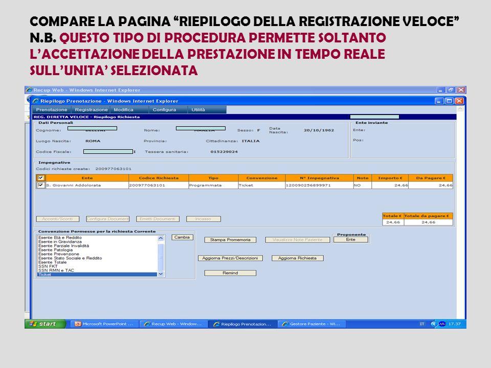 COMPARE LA PAGINA RIEPILOGO DELLA REGISTRAZIONE VELOCE N. B