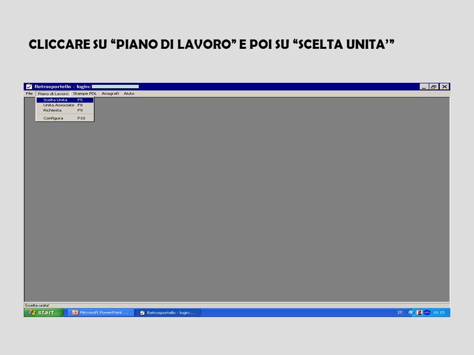 CLICCARE SU PIANO DI LAVORO E POI SU SCELTA UNITA'