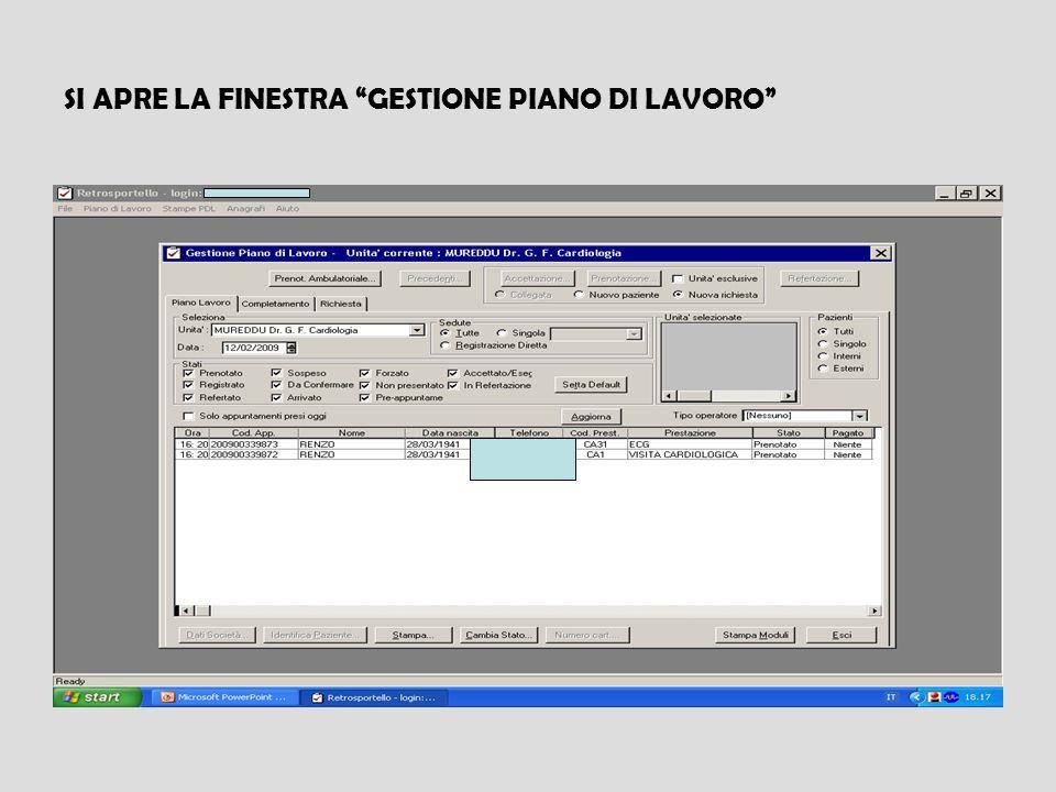 SI APRE LA FINESTRA GESTIONE PIANO DI LAVORO