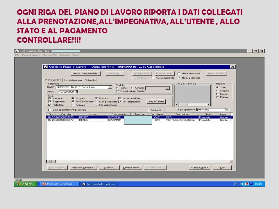 OGNI RIGA DEL PIANO DI LAVORO RIPORTA I DATI COLLEGATI ALLA PRENOTAZIONE,ALL'IMPEGNATIVA, ALL'UTENTE , ALLO STATO E AL PAGAMENTO CONTROLLARE!!!!