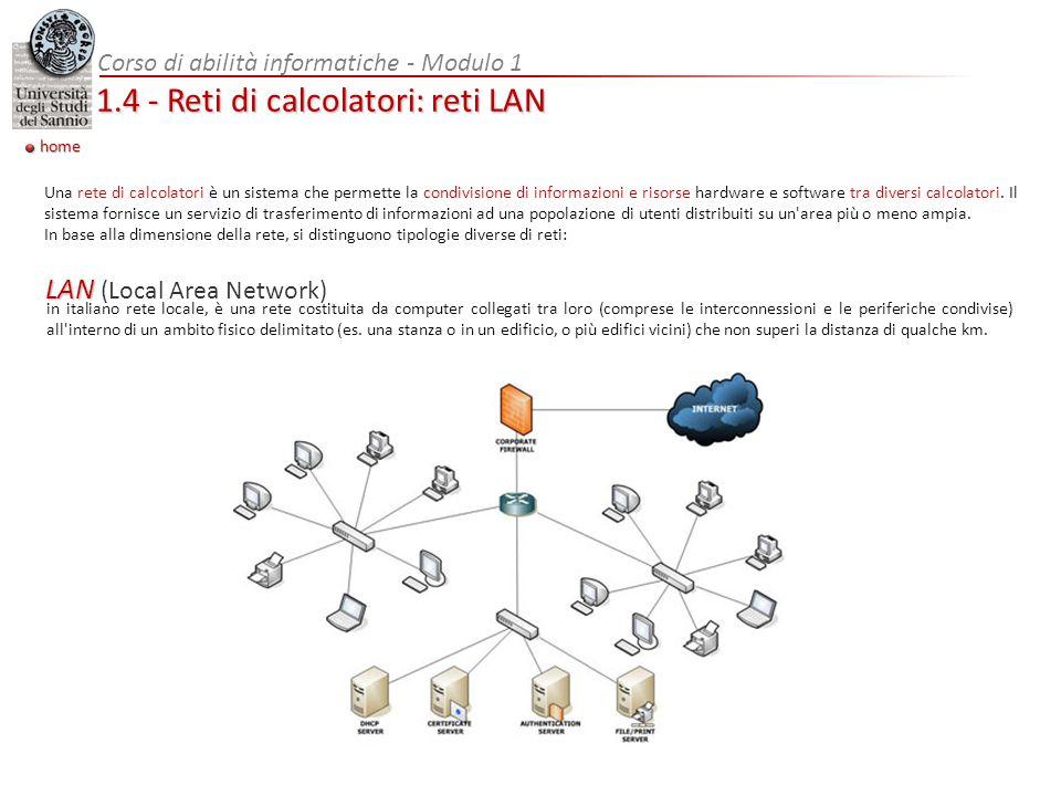 1.4 - Reti di calcolatori: reti LAN