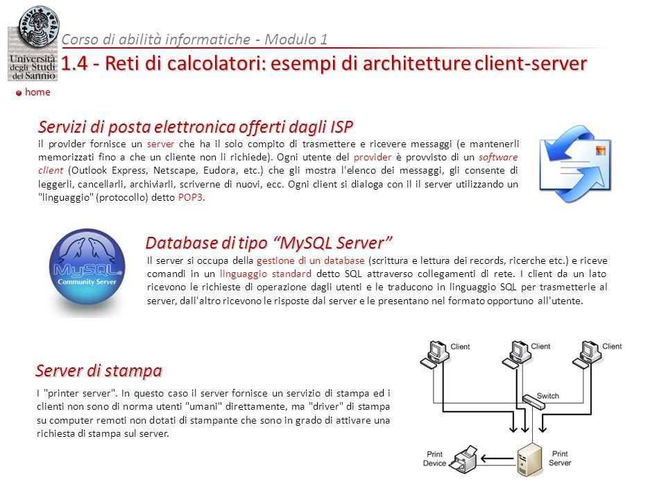 1.4 - Reti di calcolatori: esempi di architetture client-server