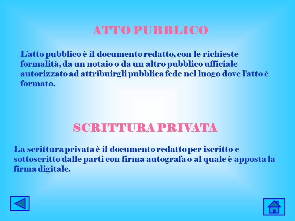 ATTO PUBBLICO SCRITTURA PRIVATA