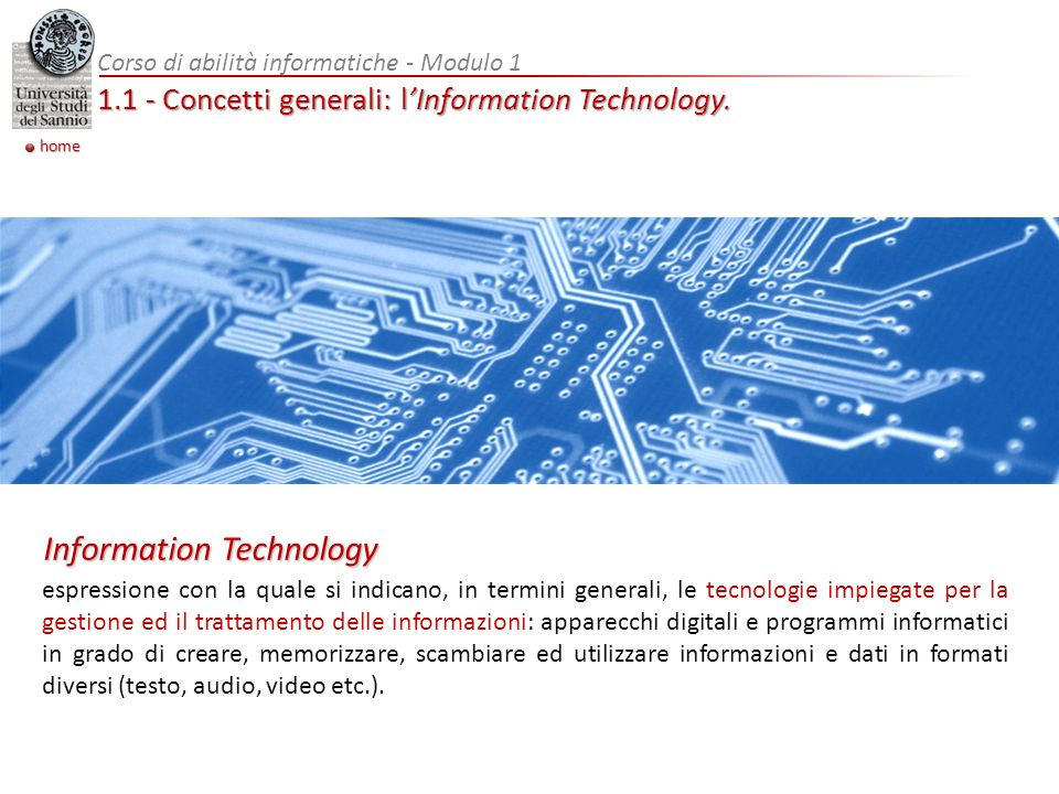 1.1 - Concetti generali: l'Information Technology.