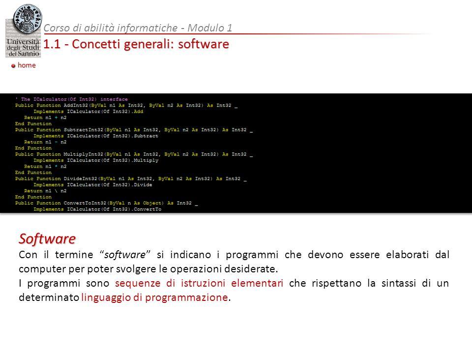 1.1 - Concetti generali: software