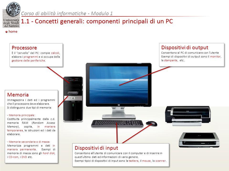 1.1 - Concetti generali: componenti principali di un PC