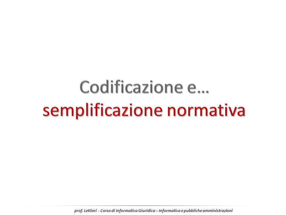 Codificazione e… semplificazione normativa