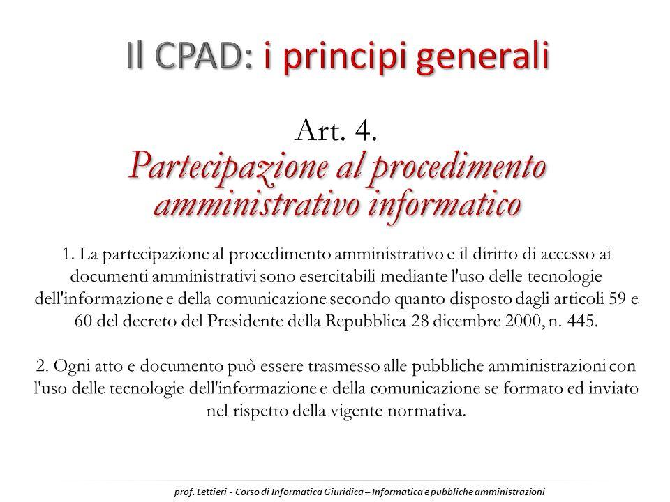 Il CPAD: i principi generali
