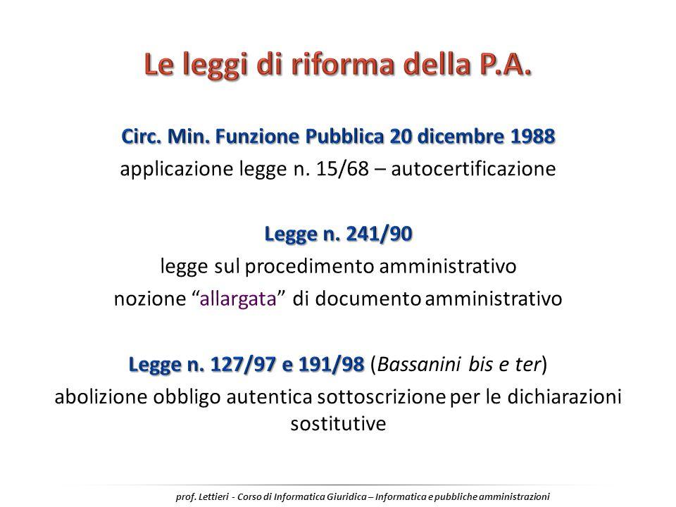 Le leggi di riforma della P.A.