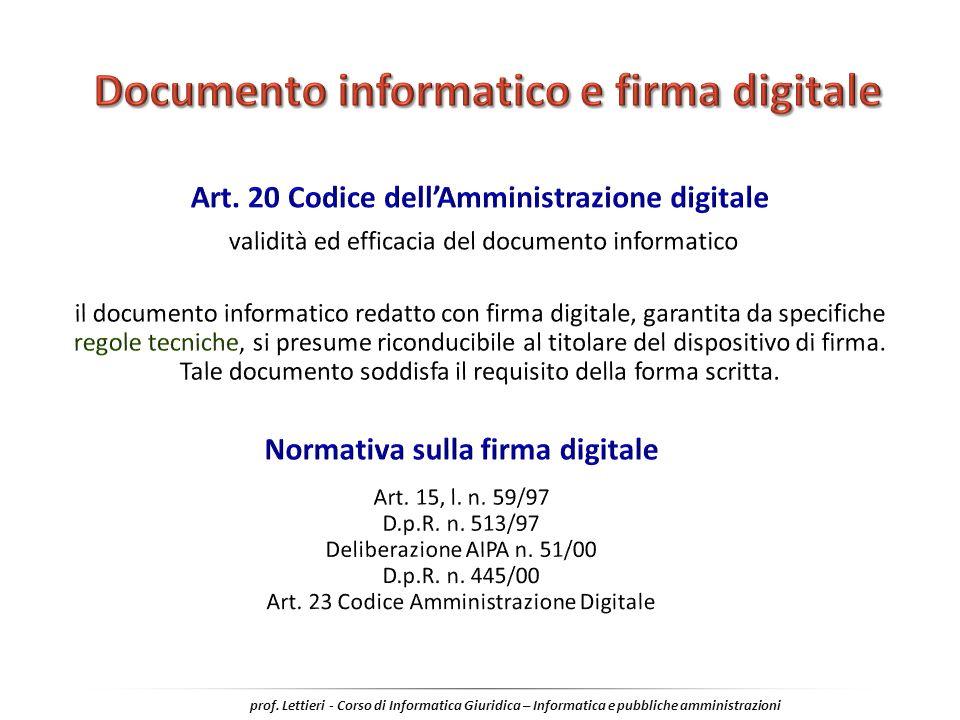 Documento informatico e firma digitale