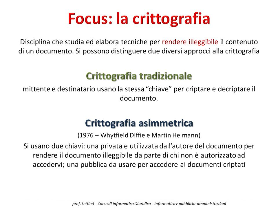 Focus: la crittografia