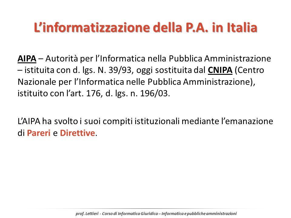 L'informatizzazione della P.A. in Italia