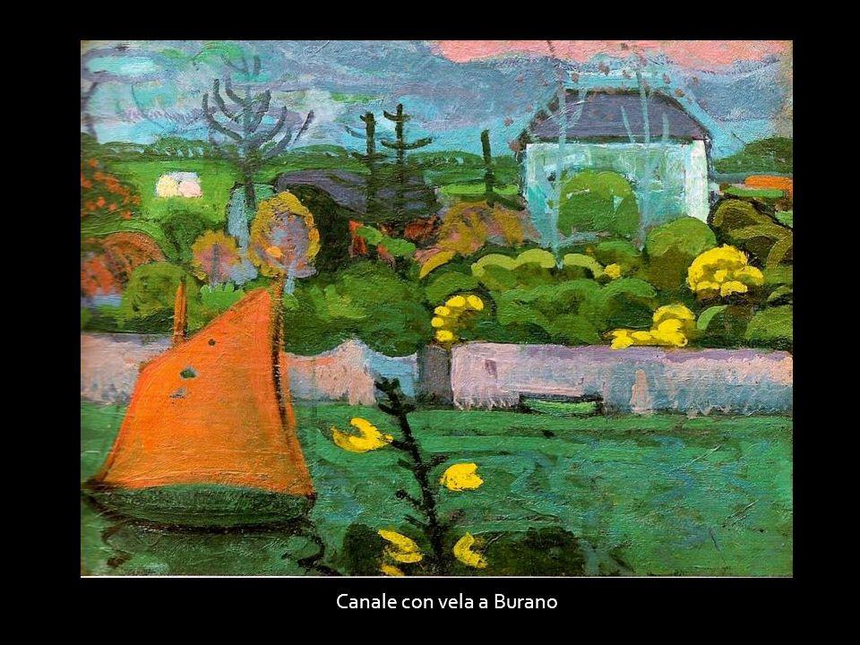 Canale con vela a Burano