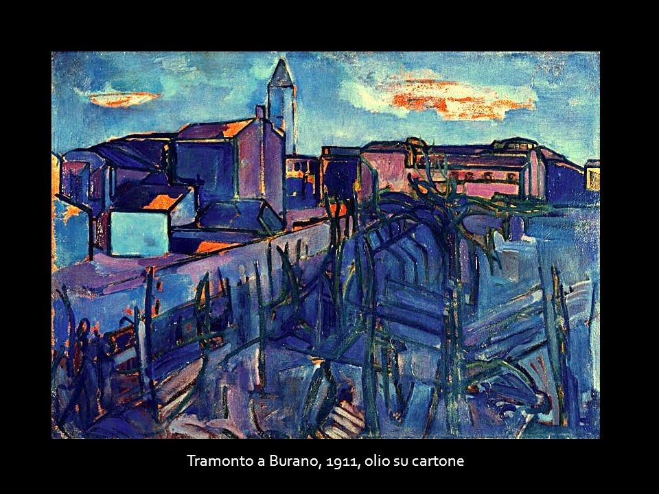 Tramonto a Burano, 1911, olio su cartone